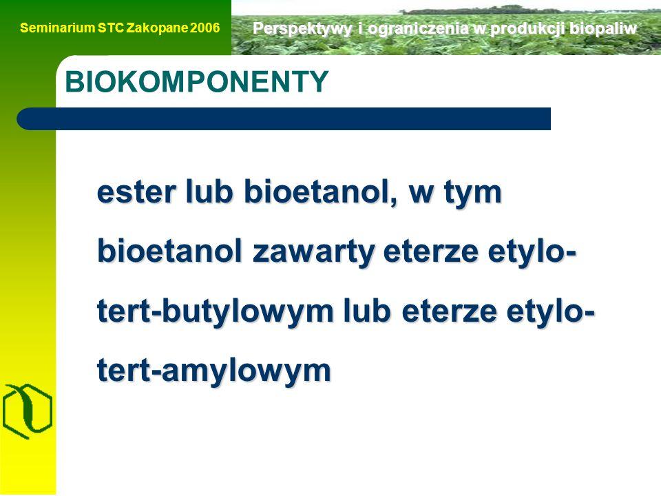 Seminarium STC Zakopane 2006 Perspektywy i ograniczenia w produkcji biopaliw Produkcja bioetanolu w polsce Krajowy cel udziału biopaliw – 2005 r.