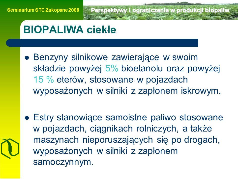 Seminarium STC Zakopane 2006 Perspektywy i ograniczenia w produkcji biopaliw Koszty produkcji bioetanolu surowieckrajkoszt €/GJ ziarno zbóżEU15 20,85 kukurydzaUS 10,88 trzcina cukrowaBrazylia 8,78 trzcina cukrowa (UK)Brazylia 30,47 burak cukrowyEU15 23,72 wartość energetyczna bioetanolu 26,7 GJ/t, Gęstość bioetanolu 0,789 kg/l