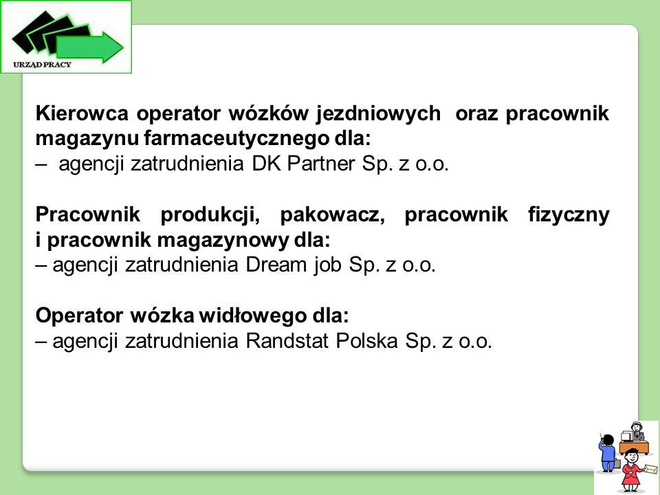 Kierowca operator wózków jezdniowych oraz pracownik magazynu farmaceutycznego dla: – agencji zatrudnienia DK Partner Sp.