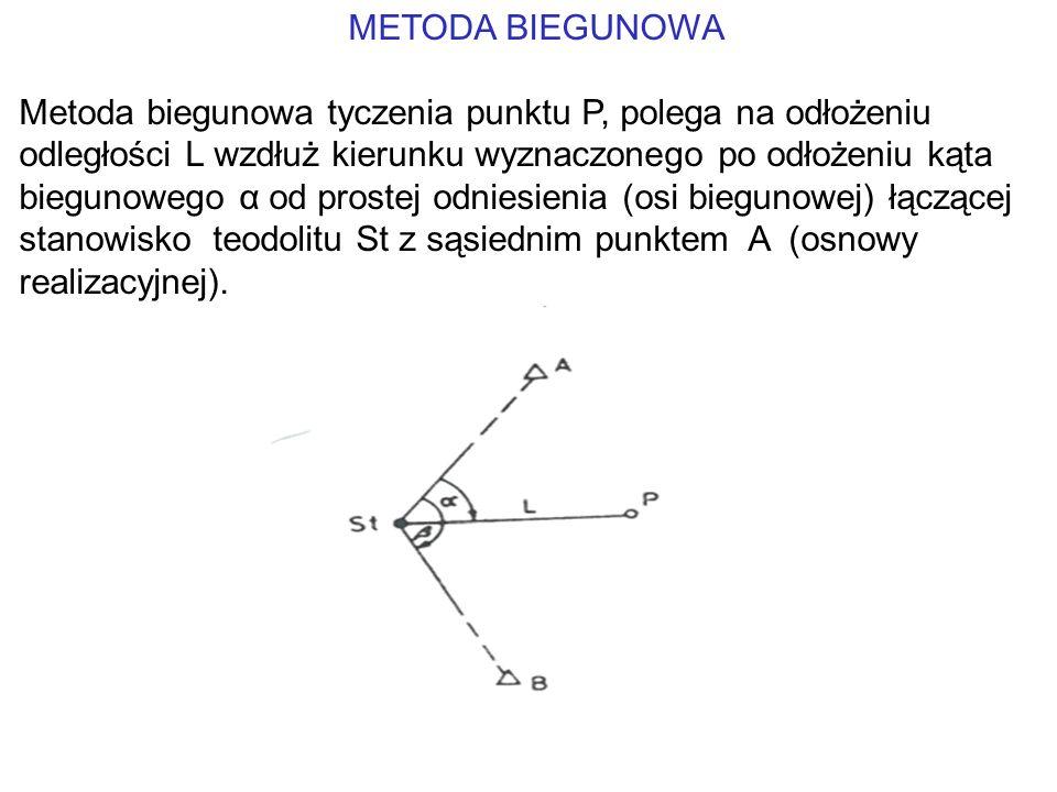 METODA BIEGUNOWA Metoda biegunowa tyczenia punktu P, polega na odłożeniu odległości L wzdłuż kierunku wyznaczonego po odłożeniu kąta biegunowego α od prostej odniesienia (osi biegunowej) łączącej stanowisko teodolitu St z sąsiednim punktem A (osnowy realizacyjnej).