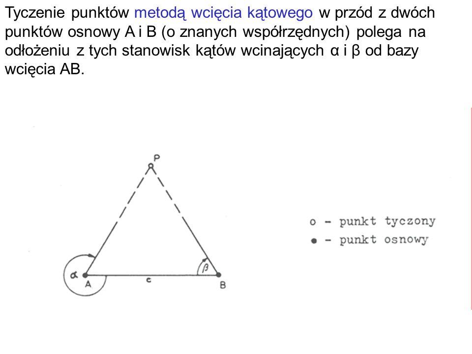 Tyczenie punktów metodą wcięcia kątowego w przód z dwóch punktów osnowy A i B (o znanych współrzędnych) polega na odłożeniu z tych stanowisk kątów wcinających α i β od bazy wcięcia AB.