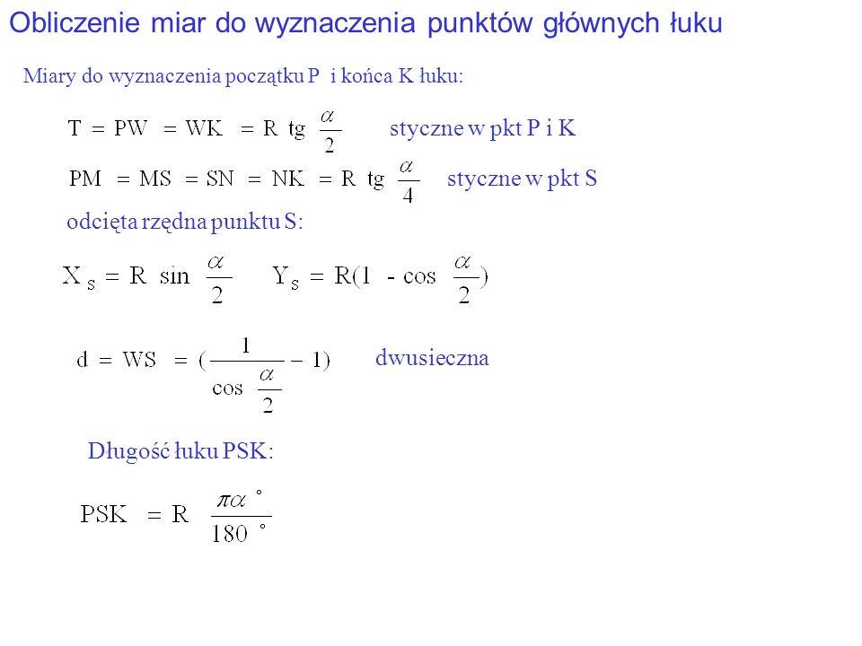 Obliczenie miar do wyznaczenia punktów głównych łuku Miary do wyznaczenia początku P i końca K łuku: styczne w pkt P i K dwusieczna odcięta rzędna punktu S: styczne w pkt S Długość łuku PSK: