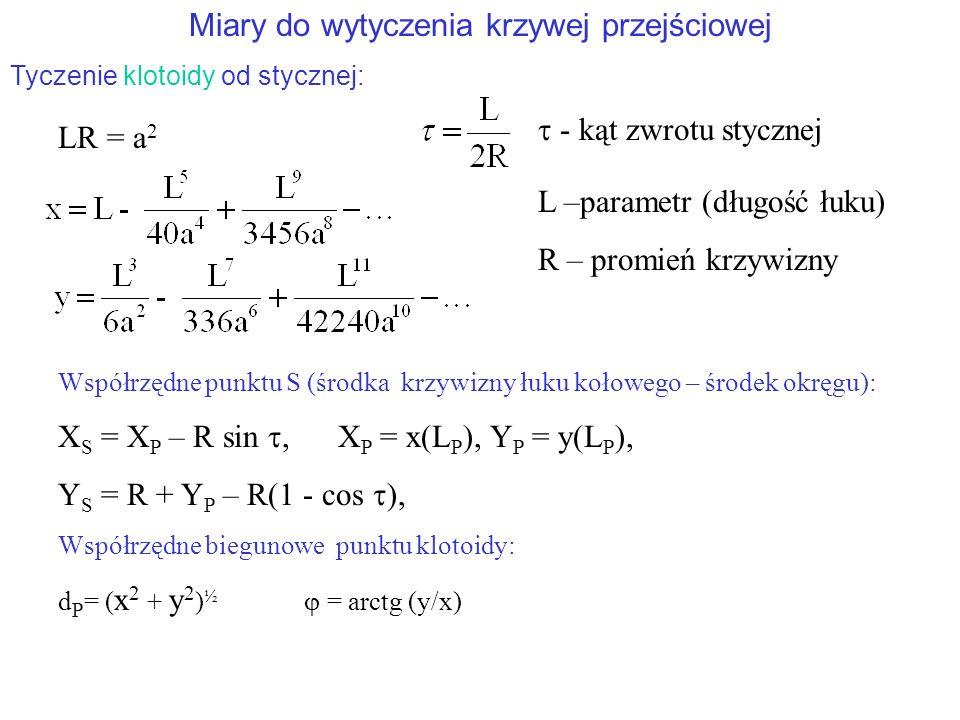 Miary do wytyczenia krzywej przejściowej Tyczenie klotoidy od stycznej: LR = a 2  - kąt zwrotu stycznej Współrzędne punktu S (środka krzywizny łuku kołowego – środek okręgu): X S = X P – R sin , X P = x(L P ), Y P = y(L P ), Y S = R + Y P – R(1 - cos  ), Współrzędne biegunowe punktu klotoidy: d P = ( x 2 + y 2 ) ½  = arctg (y/x) L –parametr (długość łuku) R – promień krzywizny