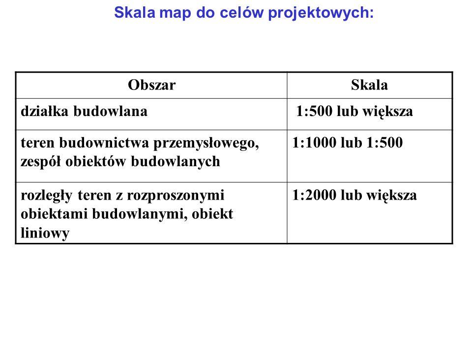 Skala map do celów projektowych: ObszarSkala działka budowlana 1:500 lub większa teren budownictwa przemysłowego, zespół obiektów budowlanych 1:1000 lub 1:500 rozległy teren z rozproszonymi obiektami budowlanymi, obiekt liniowy 1:2000 lub większa