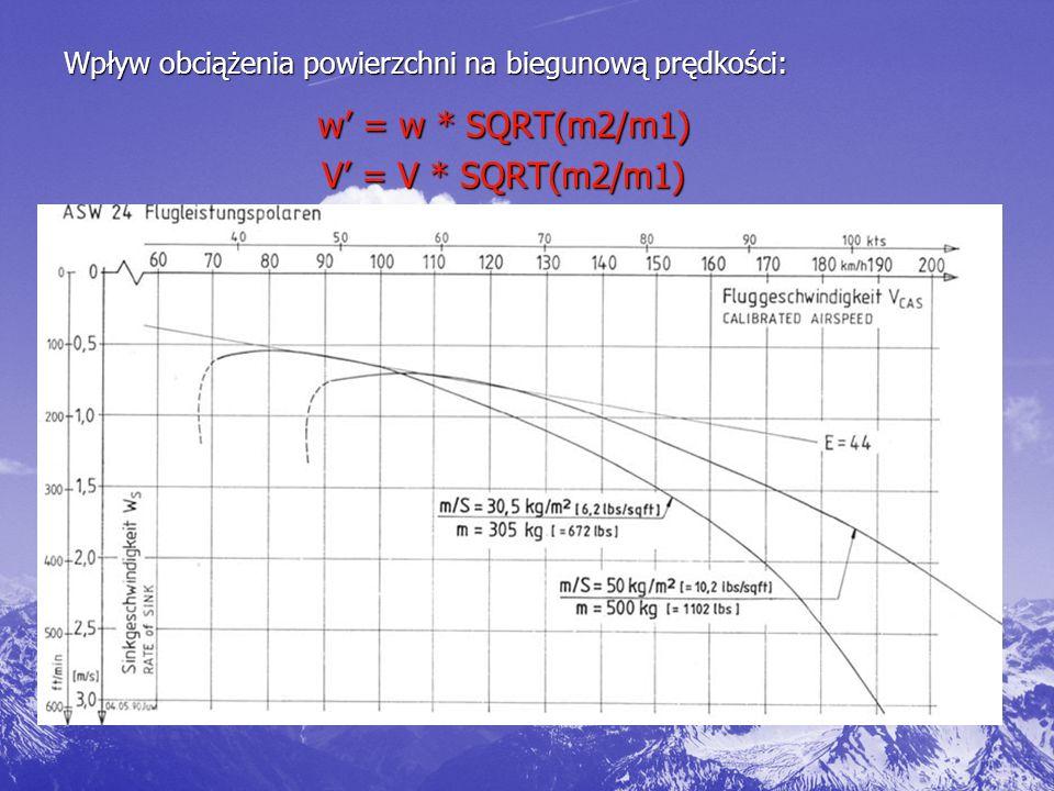 Wpływ obciążenia powierzchni na biegunową prędkości: w' = w * SQRT(m2/m1) V' = V * SQRT(m2/m1)
