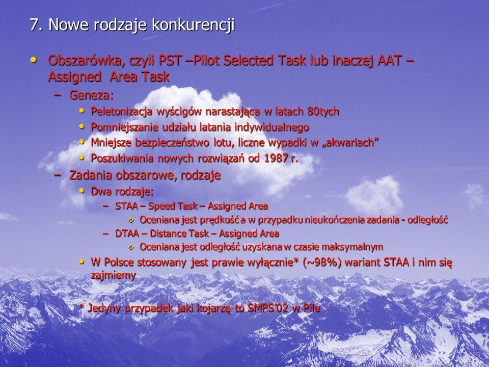 7. Nowe rodzaje konkurencji Obszarówka, czyli PST –Pilot Selected Task lub inaczej AAT – Assigned Area Task Obszarówka, czyli PST –Pilot Selected Task