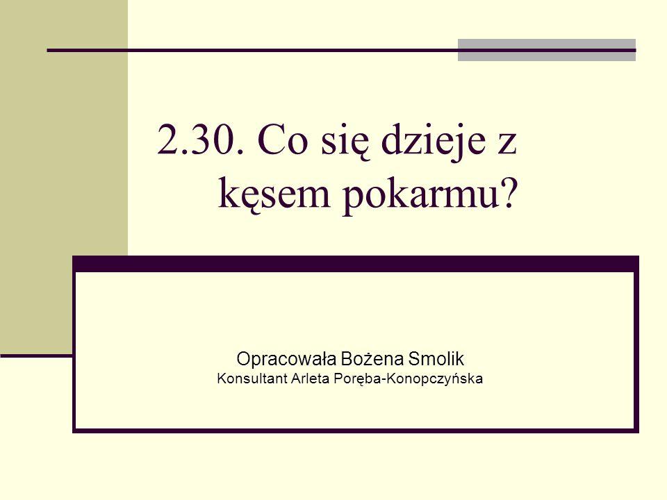 2.30. Co się dzieje z kęsem pokarmu Opracowała Bożena Smolik Konsultant Arleta Poręba-Konopczyńska