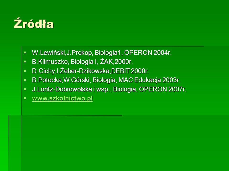 Źródła  W.Lewiński,J.Prokop, Biologia1, OPERON 2004r.  B.Klimuszko, Biologia I, ŻAK,2000r.  D.Cichy,I.Żeber-Dzikowska,DEBIT 2000r.  B.Potocka,W.Gó