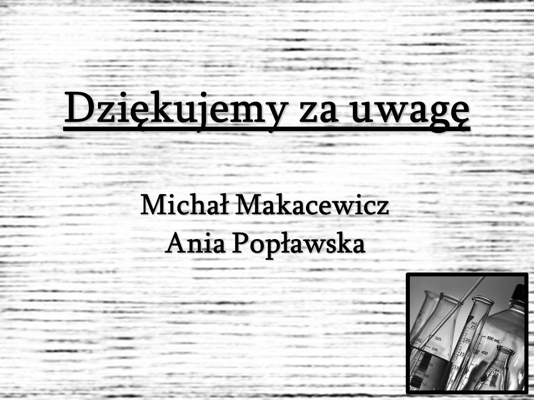 Dziękujemy za uwagę Michał Makacewicz Ania Popławska