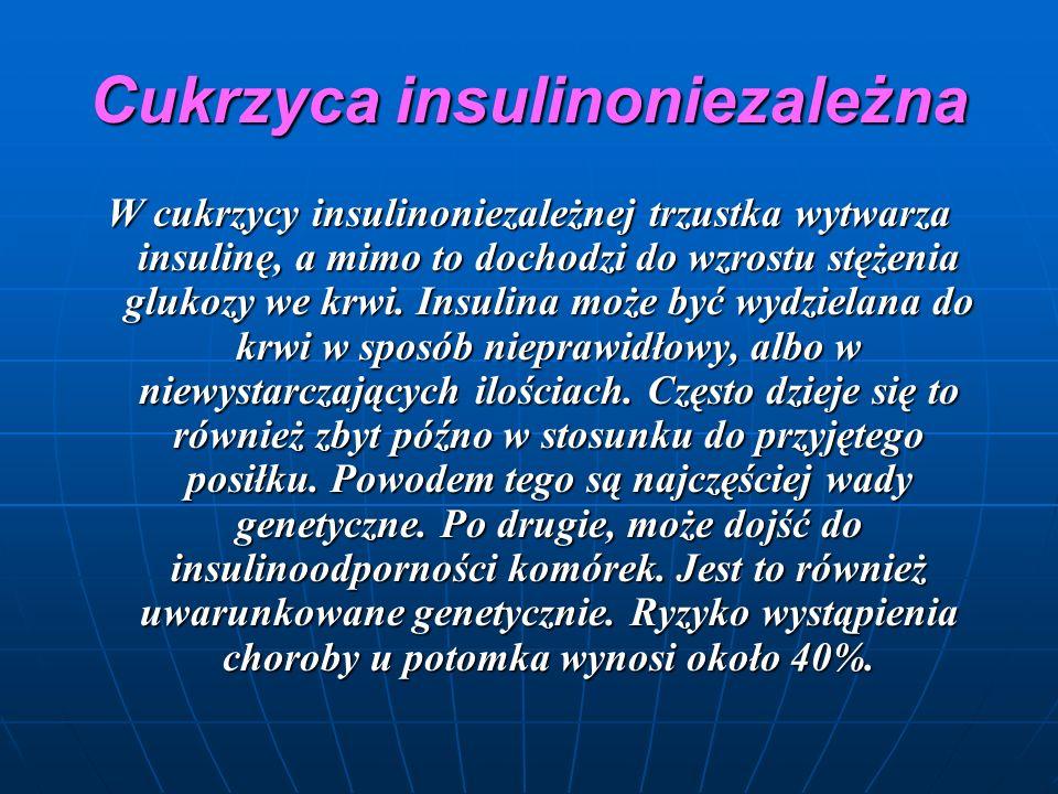 Cukrzyca insulinoniezależna W cukrzycy insulinoniezależnej trzustka wytwarza insulinę, a mimo to dochodzi do wzrostu stężenia glukozy we krwi.