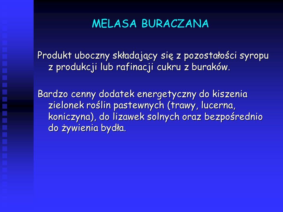 MELASA BURACZANA Produkt uboczny składający się z pozostałości syropu z produkcji lub rafinacji cukru z buraków.