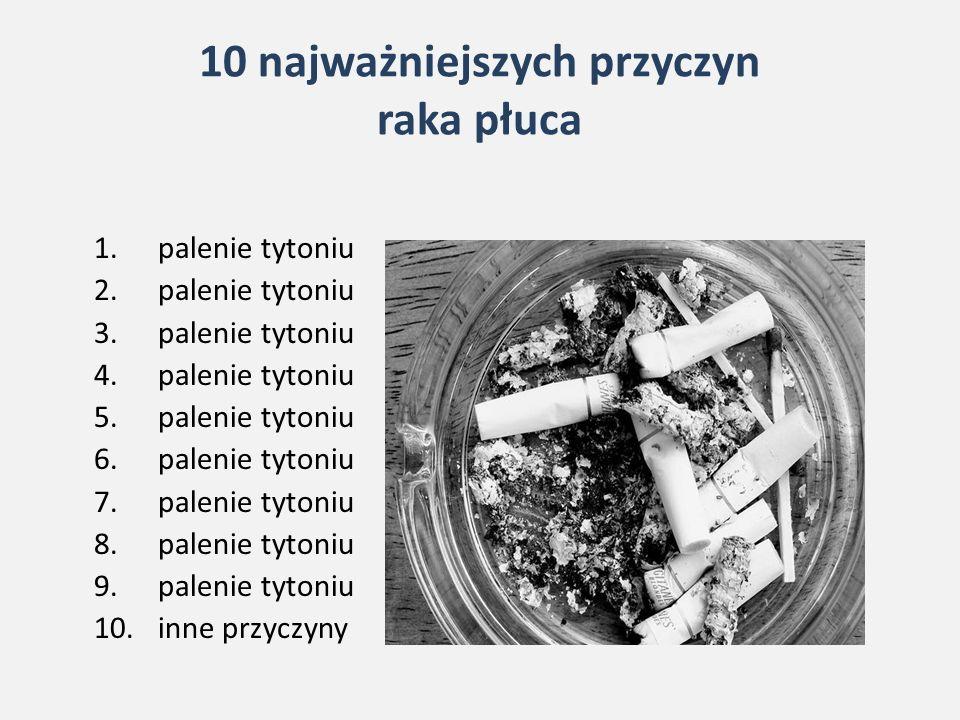 10 najważniejszych przyczyn raka płuca 1.palenie tytoniu 2.palenie tytoniu 3.palenie tytoniu 4.palenie tytoniu 5.palenie tytoniu 6.palenie tytoniu 7.palenie tytoniu 8.palenie tytoniu 9.palenie tytoniu 10.inne przyczyny