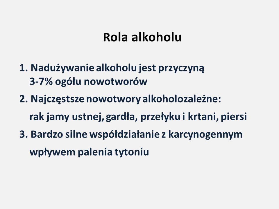 R ola alkoholu 1. Nadużywanie alkoholu jest przyczyną 3-7% ogółu nowotworów 2. Najczęstsze nowotwory alkoholozależne: rak jamy ustnej, gardła, przełyk