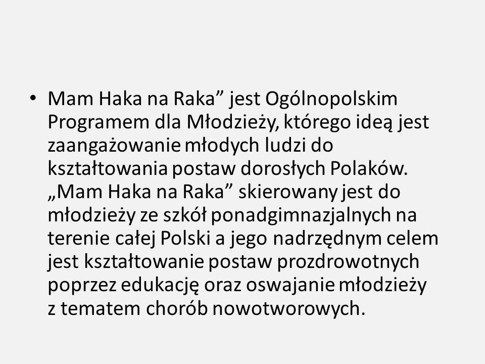 """Mam Haka na Raka"""" jest Ogólnopolskim Programem dla Młodzieży, którego ideą jest zaangażowanie młodych ludzi do kształtowania postaw dorosłych Polaków."""