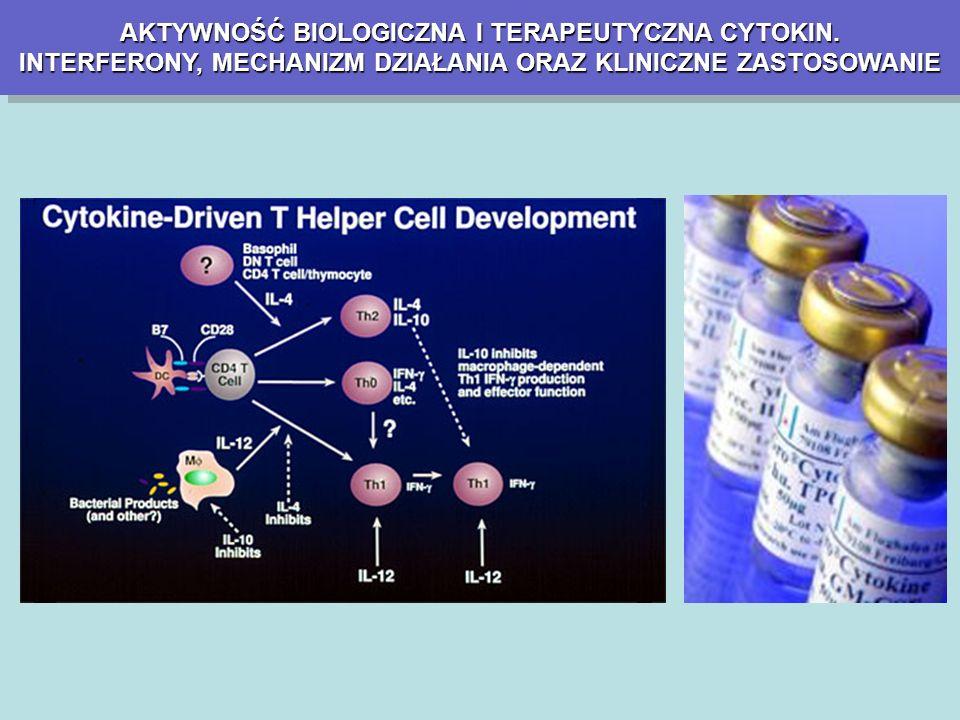 INTERFERONYINTERFERONY IFN-αIFN-α makrofagi, monocyty, limfocyty B i komórki NK IFN-βIFN-β IFN-γIFN-γ Komórki nabłonkowe, fibroblasty Aktywowane limfocyty T wirusy bakterie pierwotniaki nowotwory wirusy bakterie pierwotniaki nowotwory METODY WYTWARZANIA Metoda Cantella Metoda rekombinacyjna OGÓLNA CHARAKTERYSTYKA