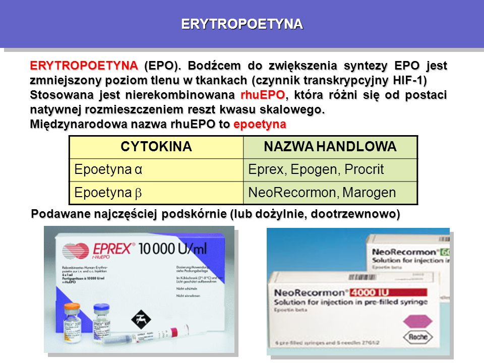 ERYTROPOETYNAERYTROPOETYNA ERYTROPOETYNA (EPO).