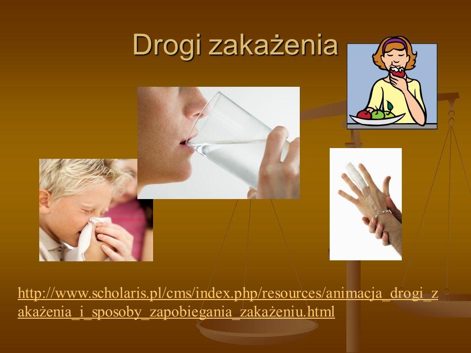Drogi zakażenia http://www.scholaris.pl/cms/index.php/resources/animacja_drogi_z akażenia_i_sposoby_zapobiegania_zakażeniu.html