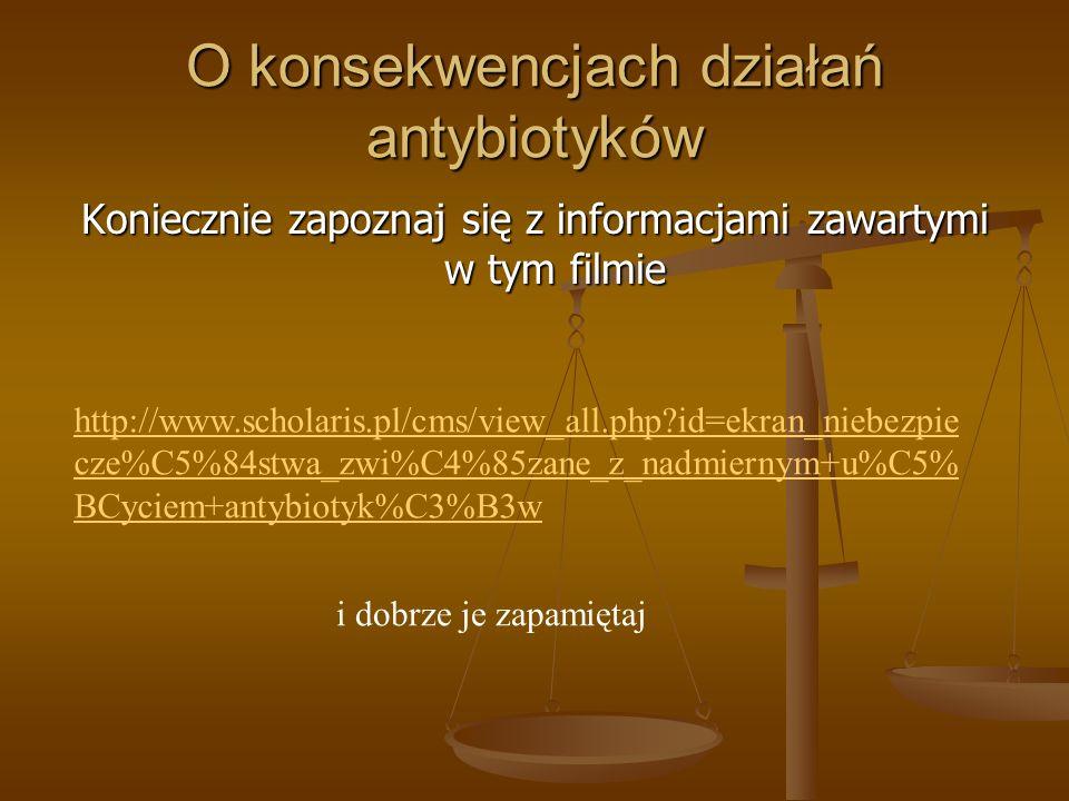 O konsekwencjach działań antybiotyków Koniecznie zapoznaj się z informacjami zawartymi w tym filmie http://www.scholaris.pl/cms/view_all.php?id=ekran_niebezpie cze%C5%84stwa_zwi%C4%85zane_z_nadmiernym+u%C5% BCyciem+antybiotyk%C3%B3w i dobrze je zapamiętaj