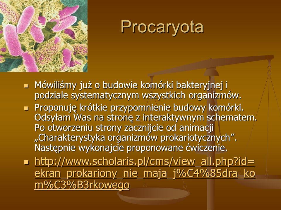 Procaryota Procaryota Mówiliśmy już o budowie komórki bakteryjnej i podziale systematycznym wszystkich organizmów. Mówiliśmy już o budowie komórki bak