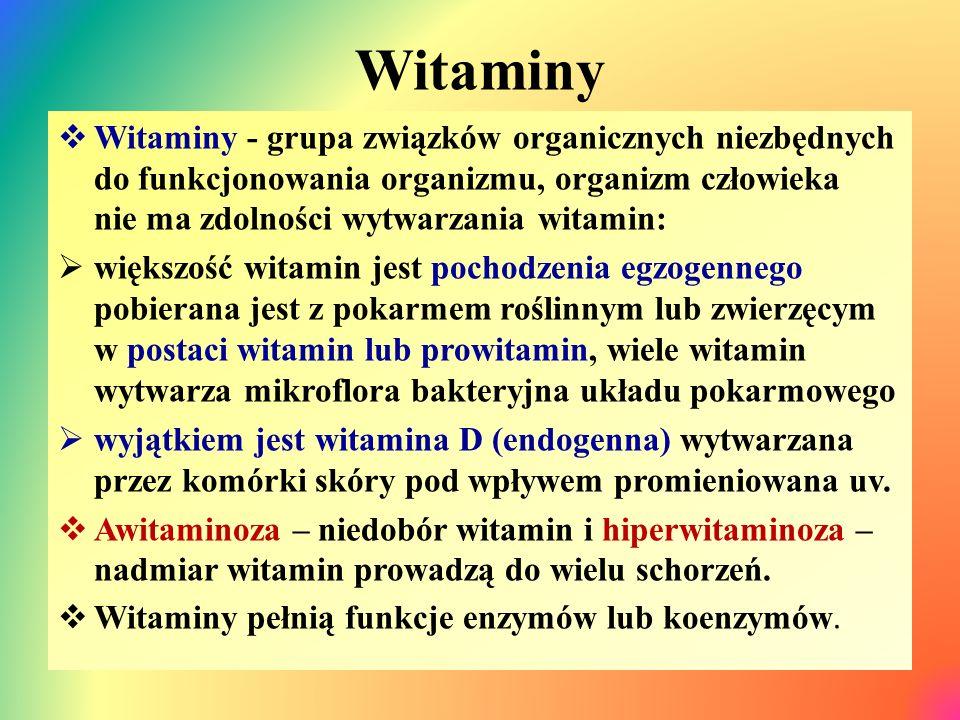 Witaminy  Witaminy - grupa związków organicznych niezbędnych do funkcjonowania organizmu, organizm człowieka nie ma zdolności wytwarzania witamin:  większość witamin jest pochodzenia egzogennego pobierana jest z pokarmem roślinnym lub zwierzęcym w postaci witamin lub prowitamin, wiele witamin wytwarza mikroflora bakteryjna układu pokarmowego  wyjątkiem jest witamina D (endogenna) wytwarzana przez komórki skóry pod wpływem promieniowana uv.
