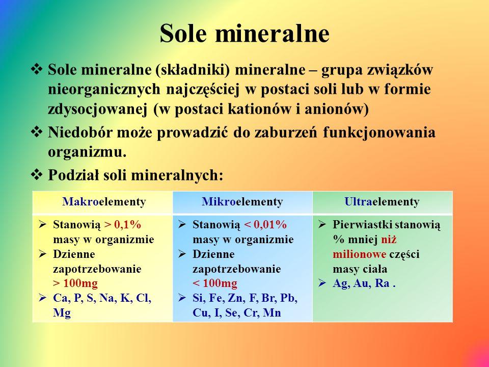 Sole mineralne  Sole mineralne (składniki) mineralne – grupa związków nieorganicznych najczęściej w postaci soli lub w formie zdysocjowanej (w postaci kationów i anionów)  Niedobór może prowadzić do zaburzeń funkcjonowania organizmu.