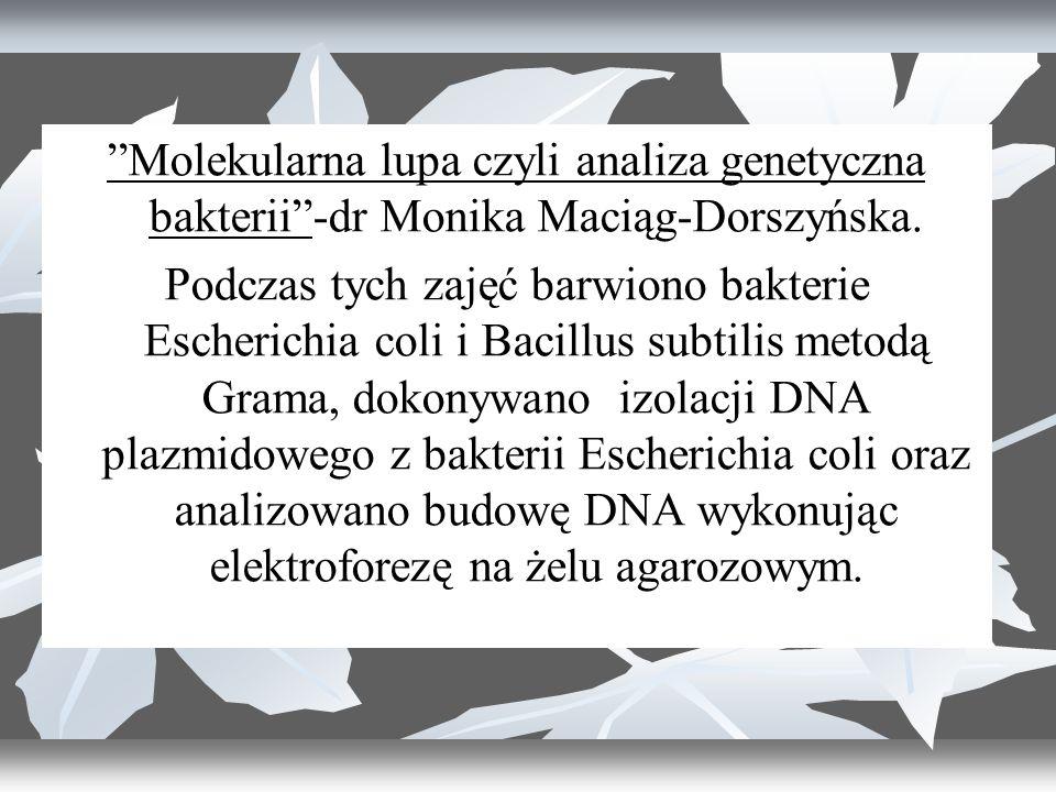Molekularna lupa czyli analiza genetyczna bakterii -dr Monika Maciąg-Dorszyńska.