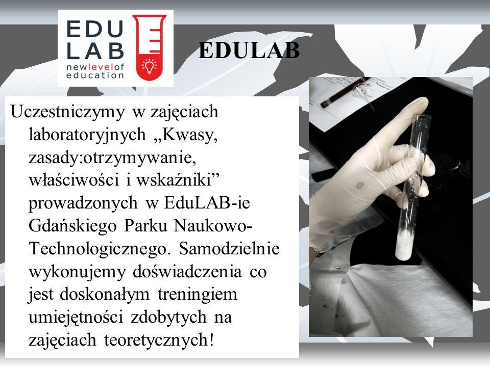 """EDULAB Uczestniczymy w zajęciach laboratoryjnych """"Kwasy, zasady:otrzymywanie, właściwości i wskaźniki prowadzonych w EduLAB-ie Gdańskiego Parku Naukowo- Technologicznego."""