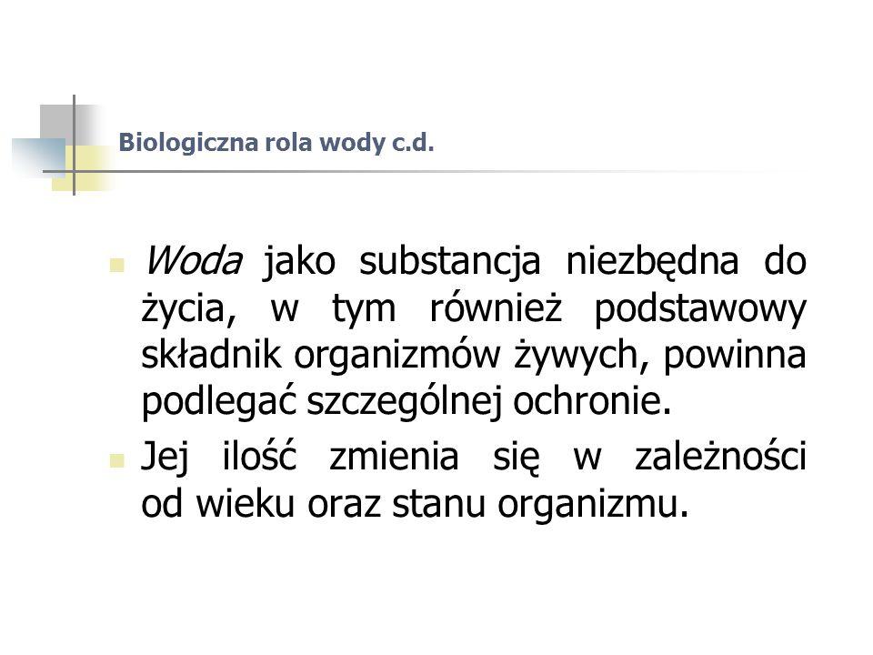 Biologiczna rola wody c.d.