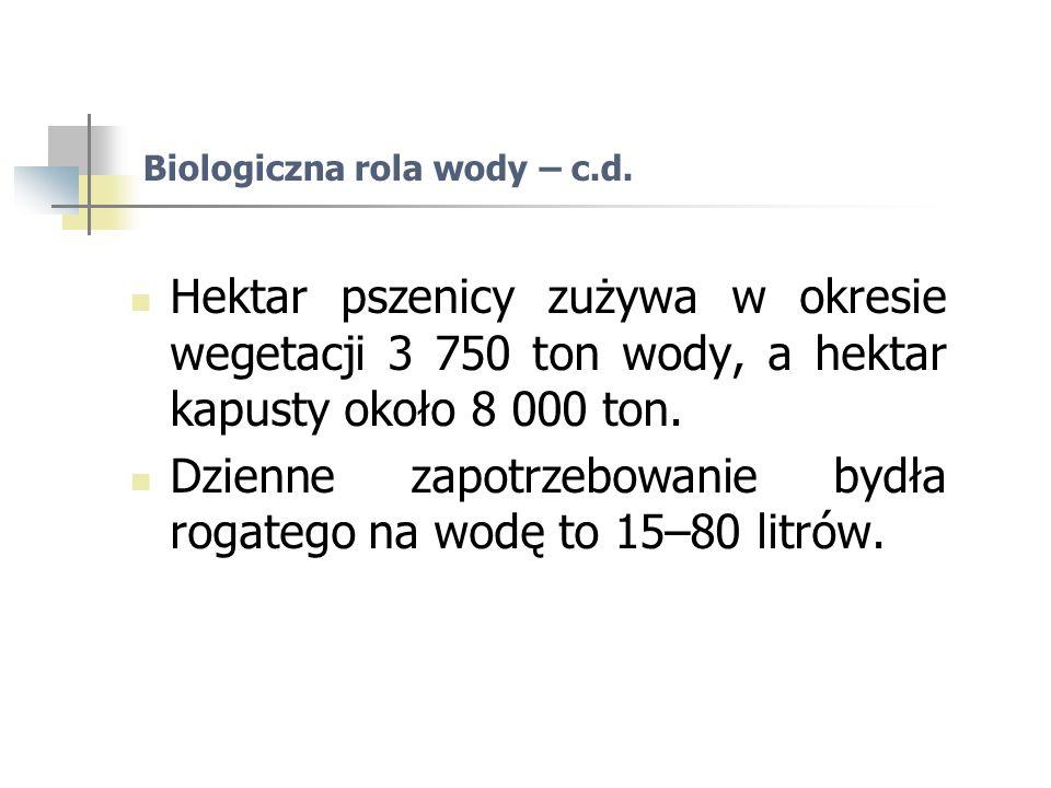 Biologiczna rola wody – c.d.