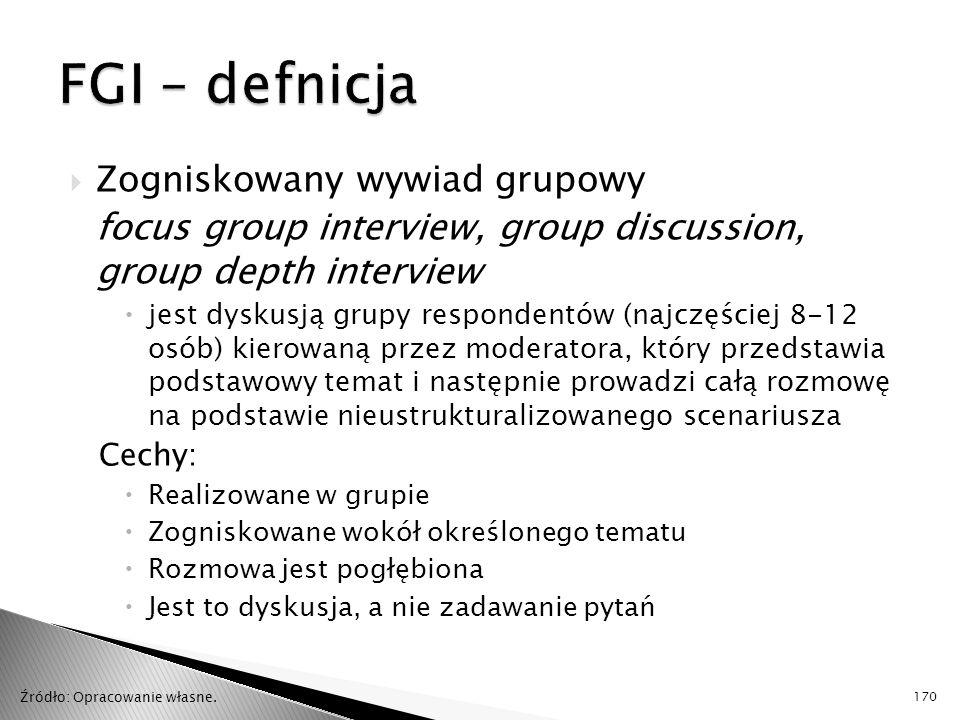  Zogniskowany wywiad grupowy focus group interview, group discussion, group depth interview  jest dyskusją grupy respondentów (najczęściej 8-12 osób) kierowaną przez moderatora, który przedstawia podstawowy temat i następnie prowadzi całą rozmowę na podstawie nieustrukturalizowanego scenariusza Cechy:  Realizowane w grupie  Zogniskowane wokół określonego tematu  Rozmowa jest pogłębiona  Jest to dyskusja, a nie zadawanie pytań 170 Źródło: Opracowanie własne.