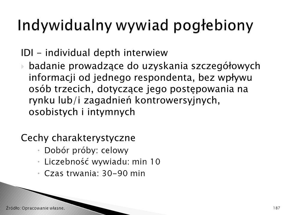 IDI - individual depth interwiew  badanie prowadzące do uzyskania szczegółowych informacji od jednego respondenta, bez wpływu osób trzecich, dotycząc