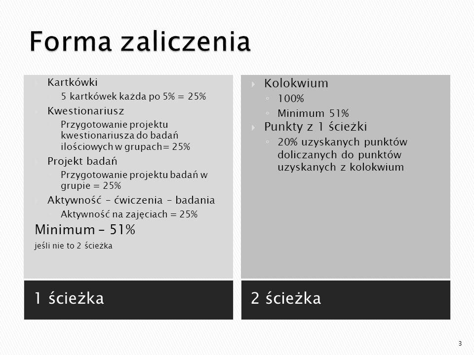 1 ścieżka2 ścieżka  Kartkówki ◦ 5 kartkówek każda po 5% = 25%  Kwestionariusz ◦ Przygotowanie projektu kwestionariusza do badań ilościowych w grupach= 25%  Projekt badań ◦ Przygotowanie projektu badań w grupie = 25%  Aktywność – ćwiczenia – badania ◦ Aktywność na zajęciach = 25% Minimum – 51% jeśli nie to 2 ścieżka  Kolokwium ◦ 100% ◦ Minimum 51%  Punkty z 1 ścieżki ◦ 20% uzyskanych punktów doliczanych do punktów uzyskanych z kolokwium 3