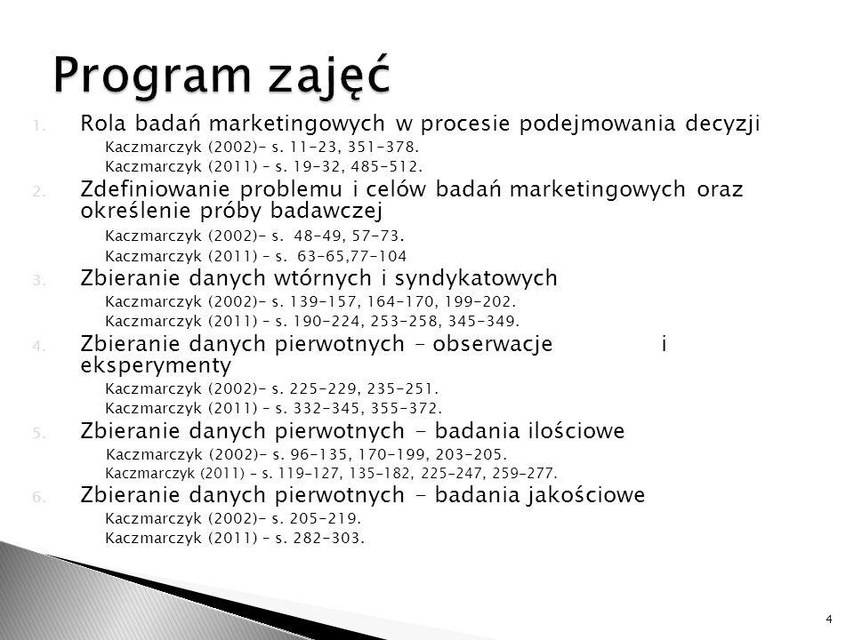 1. Rola badań marketingowych w procesie podejmowania decyzji Kaczmarczyk (2002)- s. 11-23, 351-378. Kaczmarczyk (2011) – s. 19-32, 485-512. 2. Zdefini