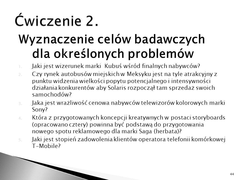 Wyznaczenie celów badawczych dla określonych problemów 1.