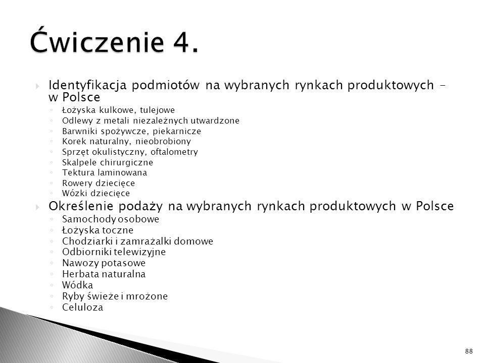  Identyfikacja podmiotów na wybranych rynkach produktowych – w Polsce ◦ Łożyska kulkowe, tulejowe ◦ Odlewy z metali niezależnych utwardzone ◦ Barwniki spożywcze, piekarnicze ◦ Korek naturalny, nieobrobiony ◦ Sprzęt okulistyczny, oftalometry ◦ Skalpele chirurgiczne ◦ Tektura laminowana ◦ Rowery dziecięce ◦ Wózki dziecięce  Określenie podaży na wybranych rynkach produktowych w Polsce ◦ Samochody osobowe ◦ Łożyska toczne ◦ Chodziarki i zamrażalki domowe ◦ Odbiorniki telewizyjne ◦ Nawozy potasowe ◦ Herbata naturalna ◦ Wódka ◦ Ryby świeże i mrożone ◦ Celuloza 88