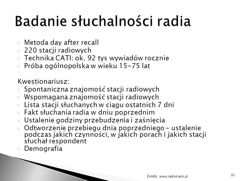  Metoda day after recall  220 stacji radiowych  Technika CATI: ok. 92 tys wywiadów rocznie  Próba ogólnopolska w wieku 15-75 lat Kwestionariusz: 
