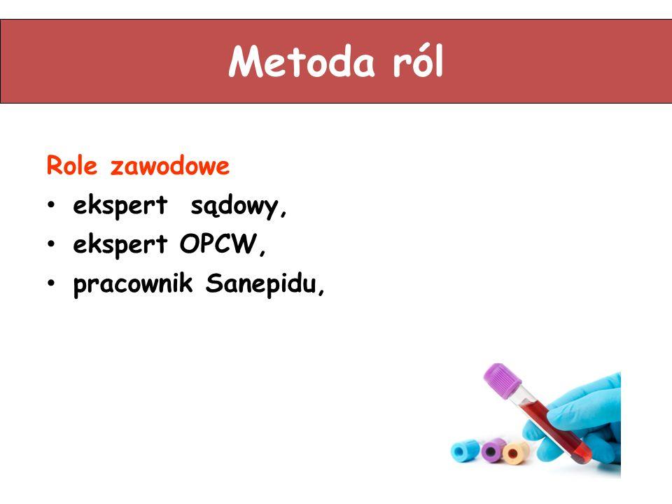 Metoda ról Role zawodowe ekspert sądowy, ekspert OPCW, pracownik Sanepidu,