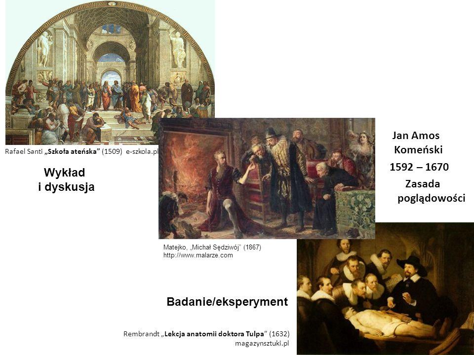"""Jan Amos Komeński 1592 – 1670 Zasada poglądowości Rafael Santi """"Szkoła ateńska"""" (1509) e-szkola.pl Rembrandt """"Lekcja anatomii doktora Tulpa"""" (1632) ma"""