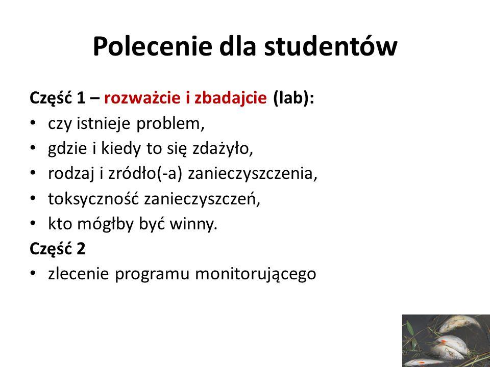 Polecenie dla studentów Część 1 – rozważcie i zbadajcie (lab): czy istnieje problem, gdzie i kiedy to się zdażyło, rodzaj i zródło(-a) zanieczyszczeni