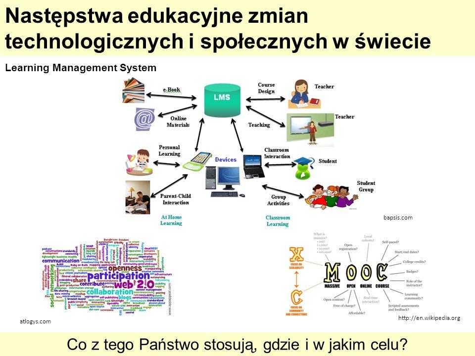 http://en.wikipedia.org bapsis.com atlogys.com Następstwa edukacyjne zmian technologicznych i społecznych w świecie Co z tego Państwo stosują, gdzie i