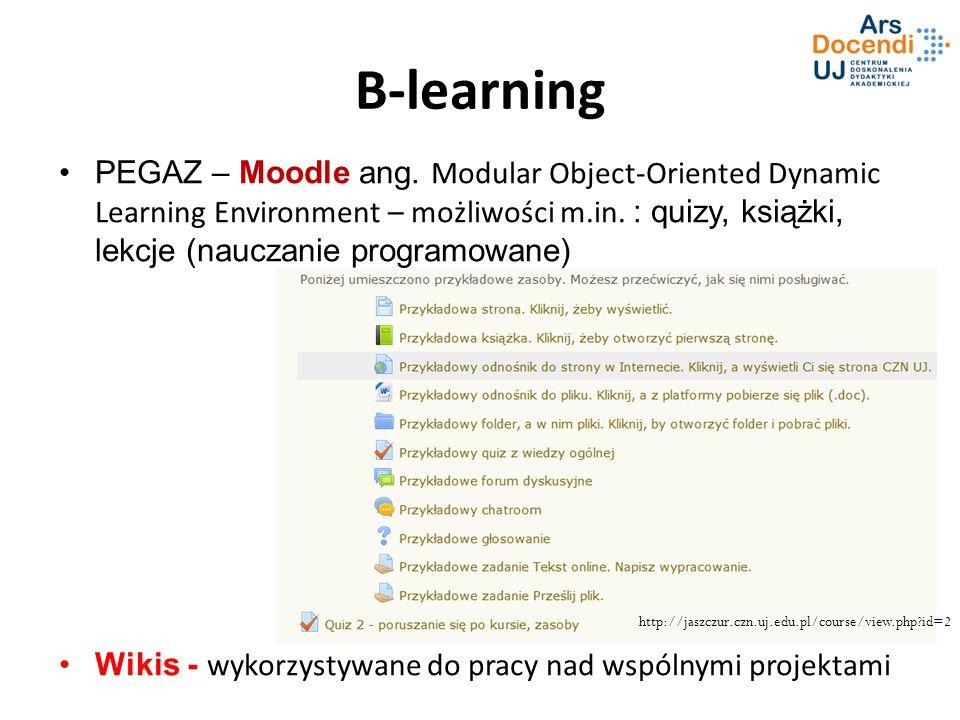 B-learning PEGAZ – Moodle ang. Modular Object-Oriented Dynamic Learning Environment – możliwości m.in. : quizy, książki, lekcje (nauczanie programowan