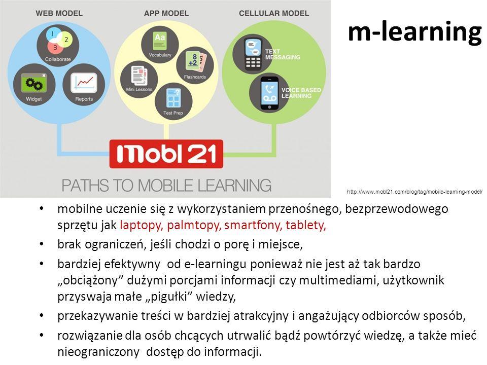 m-learning mobilne uczenie się z wykorzystaniem przenośnego, bezprzewodowego sprzętu jak laptopy, palmtopy, smartfony, tablety, brak ograniczeń, jeśli