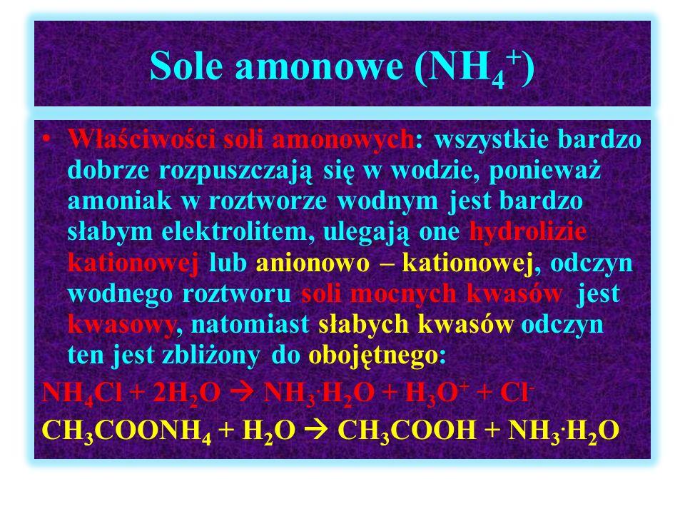 Sole amonowe (NH 4 + ) Właściwości soli amonowych: wszystkie bardzo dobrze rozpuszczają się w wodzie, ponieważ amoniak w roztworze wodnym jest bardzo
