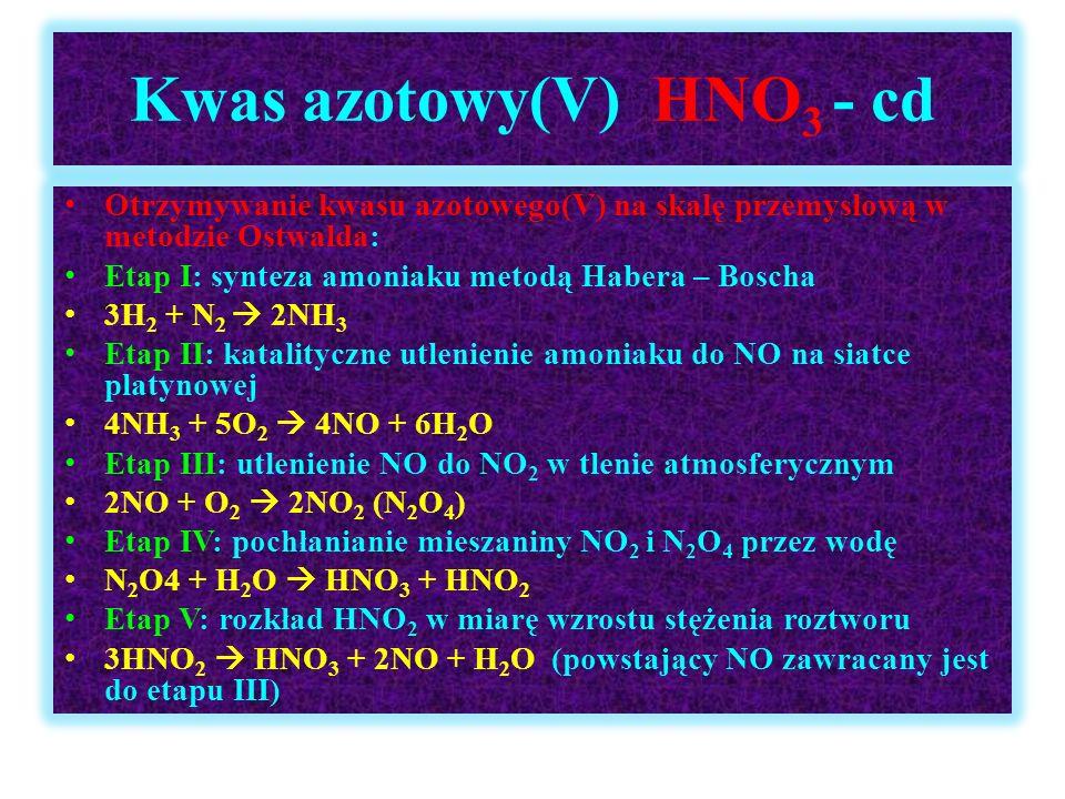 Kwas azotowy(V) HNO 3 - cd Otrzymywanie kwasu azotowego(V) na skalę przemysłową w metodzie Ostwalda: Etap I: synteza amoniaku metodą Habera – Boscha 3