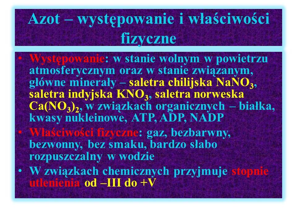 Otrzymywanie i zastosowanie azotu Otrzymywanie : destylacja frakcjonowana skroplonego powietrza, z wykorzystaniem różnic wrzenia gazów stanowiących mieszaninę powietrza (T w(N) = -196 o C, T w(O) = -183 o C) Metody laboratoryjne: termiczny rozkład soli azotanowo- amonowych lub azydków (sole kwasu azotowodorowego HN 3 ): NH 4 NO 2  N 2 + 2H 2 O NH 4 Cl + NaNO 2  NaCl + N 2 + H 2 O 2NaN 3  2Na + 3N 2 Zastosowanie: otrzymywanie niskich temp., utrzymanie atmosfery beztlenowej w procesach chemicznych w spawalniczych, napełniane żarówek i jarzeniówek, napełnianie poduszek bezpieczeństwa (rozkład azydku sodu), produkcja amoniaku, kwasu azotowego i jego soli, nawozów mineralnych