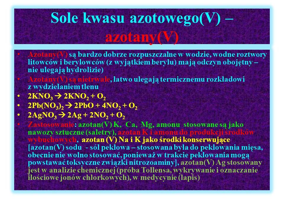 Sole kwasu azotowego(V) – azotany(V) Azotany(V) są bardzo dobrze rozpuszczalne w wodzie, wodne roztwory litowców i berylowców (z wyjątkiem berylu) maj