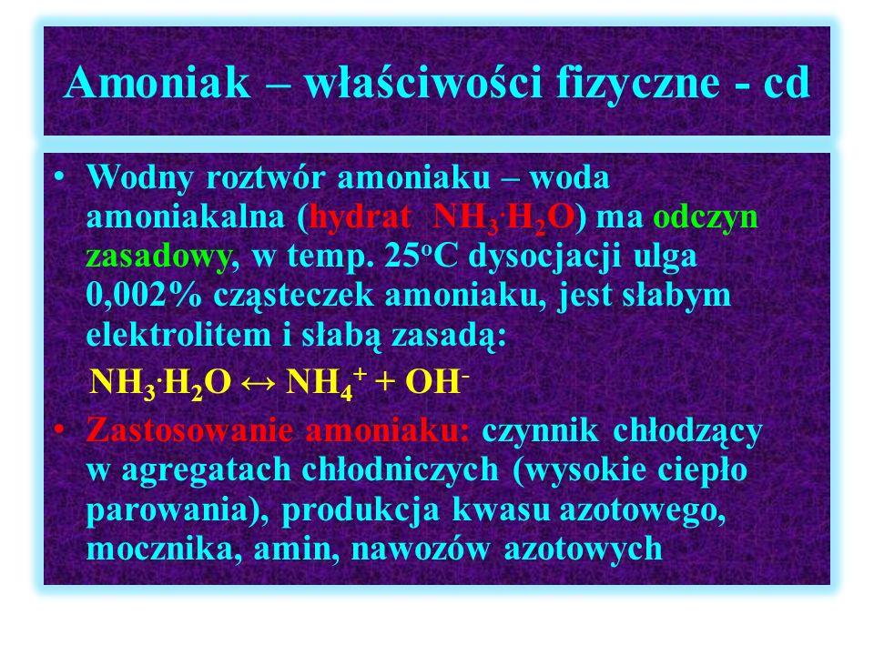 Amoniak – właściwości fizyczne - cd Wodny roztwór amoniaku – woda amoniakalna (hydrat NH 3. H 2 O) ma odczyn zasadowy, w temp. 25 o C dysocjacji ulga