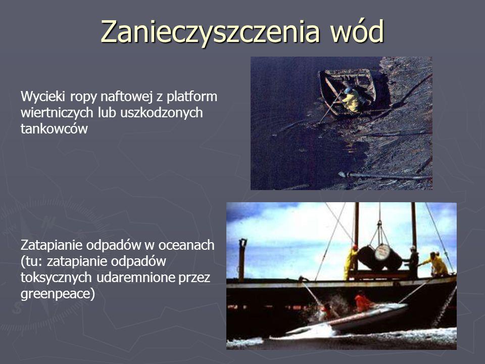 Zanieczyszczenia wód Wycieki ropy naftowej z platform wiertniczych lub uszkodzonych tankowców Zatapianie odpadów w oceanach (tu: zatapianie odpadów to