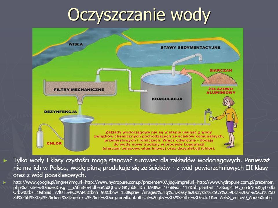 Oczyszczanie wody ► Tylko wody I klasy czystości mogą stanowić surowiec dla zakładów wodociągowych. Ponieważ nie ma ich w Polsce, wodę pitną produkuje