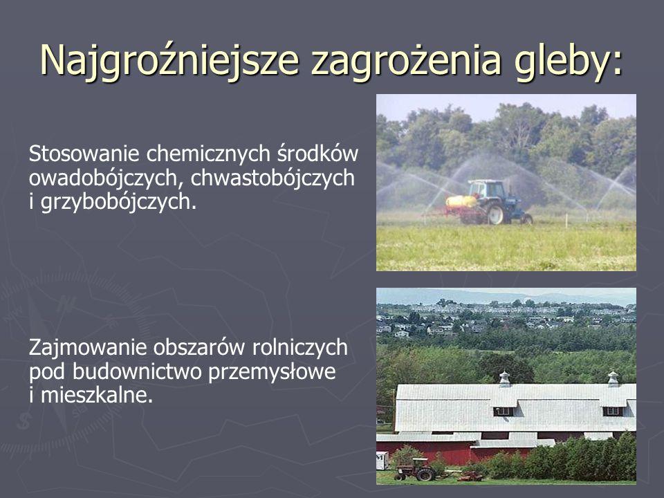 Najgroźniejsze zagrożenia gleby: Stosowanie chemicznych środków owadobójczych, chwastobójczych i grzybobójczych. Zajmowanie obszarów rolniczych pod bu
